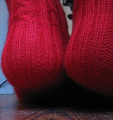 RibCable socks heel detail