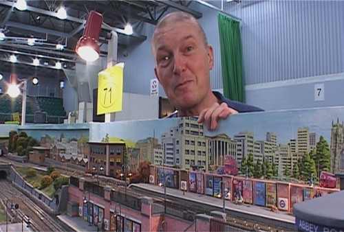John Polley and his model Tube Railway from The Tube TV series