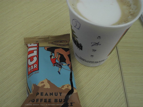 Decaf Latte, Caffeinated Clif Bar