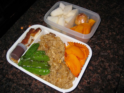 [bento with mixed rice, various side dishes]=