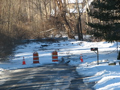 Barricade for downed line at the end of our street.