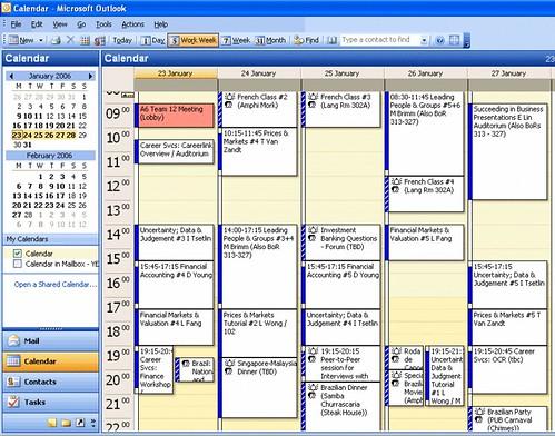 timetable 23-27 Jan