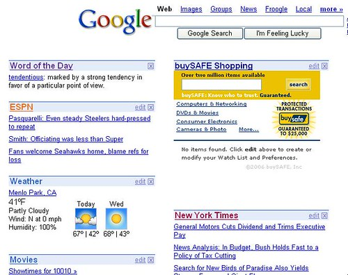 buySAFE shopping on Google Personalized Home