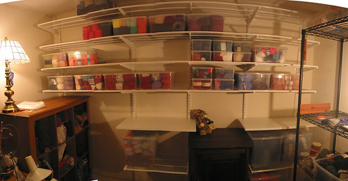 Yarn room - partially filled shelves