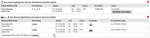 Vergleich der Bahnkosten mit Auto- und Taxi-Kosten