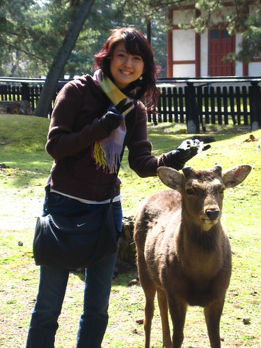 me and a male deer with blunt horns
