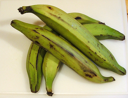 Plantains with green peel