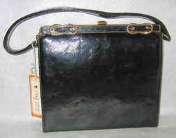 Coquette NY black patent textured purse with rope detail