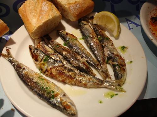 Sardines for lunch inside La Boqueria