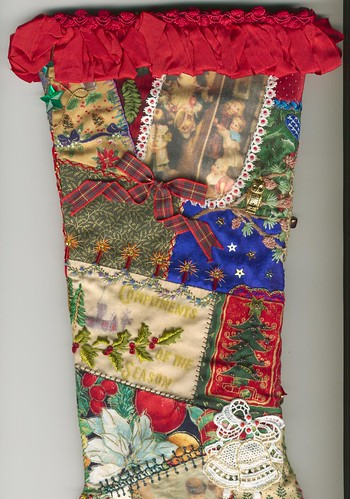 Crazy quilted Christmas stocking