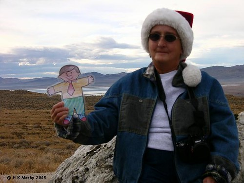 Flat Bobby and Judy take a rest after hiking up to the Lovelock Cave