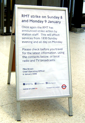 London Underground Strike Notice - 8th - 9th January 2006