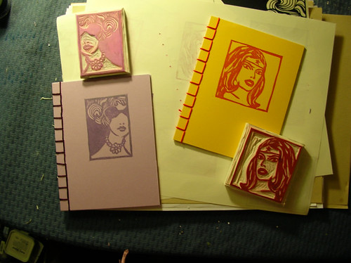 Stamp carving and Japanese stab bound books
