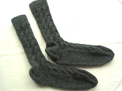 Grey Cabled Socks