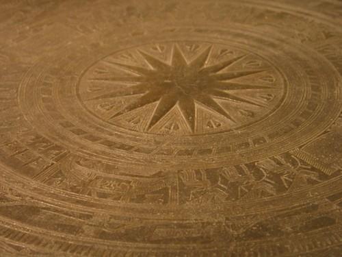 古雲南滇文化銅鼓面精細的花紋