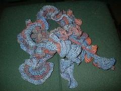 Blue silk ruffle scarf