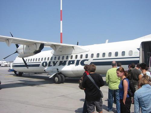 Plane from Athens to Santorini