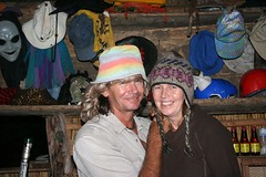Brett and Evelyn in funny hats.