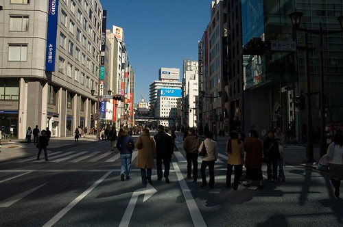 walking down the street in ginza