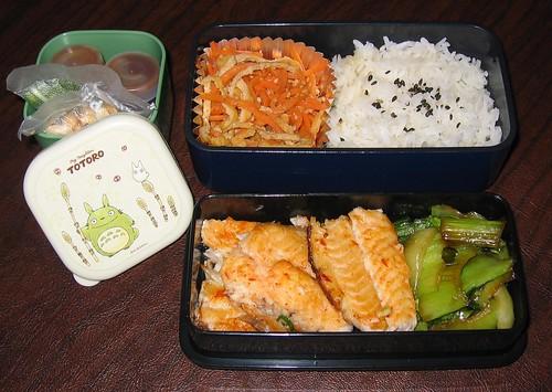 [bento with hoisin catfish, rice, veggie sides]