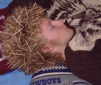 drunk guy ends up looking like porcupine thanks to toothpicks in his hair