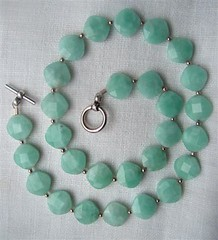 Amazonite facet coin necklace
