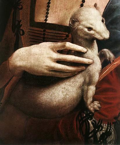 LEONARDO_ La dama del armiño hacia 1484 DETALLE ARMIÑO