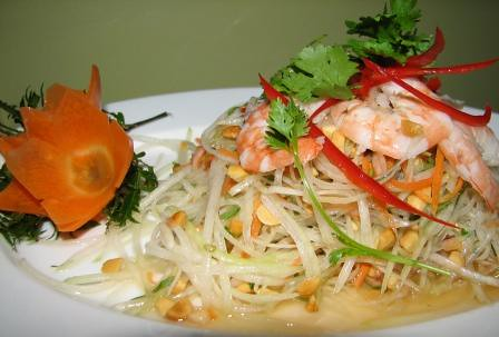 Green papaya and prawn salad