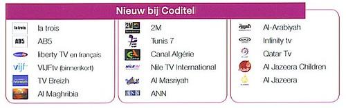 Coditel digitaal: nieuwe kanalen
