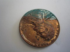 Copper oxidizing off a penny