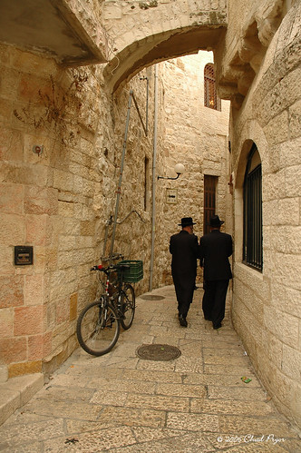Jewish Men in Old City Alley