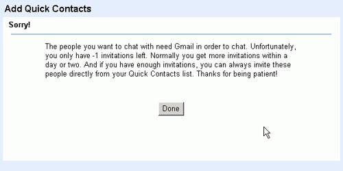 如果添加本domain的用户,比如fwolf@xxx.com添加ksafe@ xxx.com,系统会提示你对方没有gmail,而你又没有 邀请额,所以无法添加
