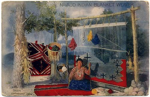 Postcard: Navajo Weaver ca. 1904
