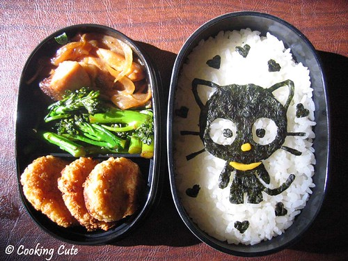 [chococat bento with honey-ginger chicken]