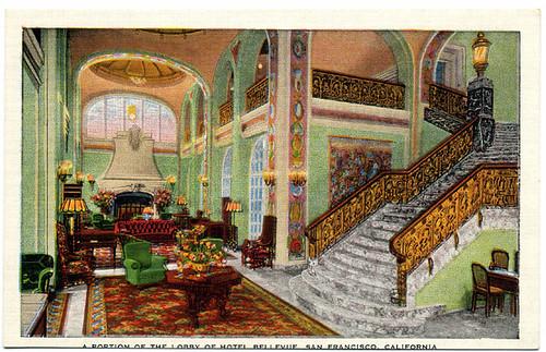 Postcard: Hotel Bellevue lobby SF ca. 1930