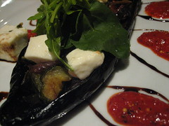 aubergine stuffed with med veg, mozarella