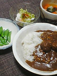 晩ご飯withスナックエンドウ