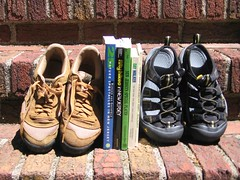 Hiking shoes, guides, and sandals