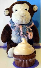 Cocoa the  monkey with cupcake