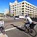 Cyclists preparing to cross Parramatta Road