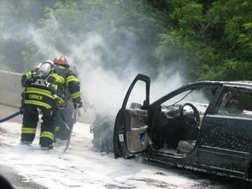 Car Fire on Rt. 3 near Duxbury, MA