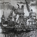 'Govan shipyard'; Charcoal on paper; 150x180cm
