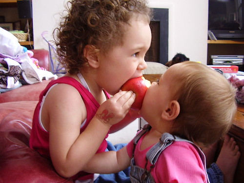 Sisters share an apple