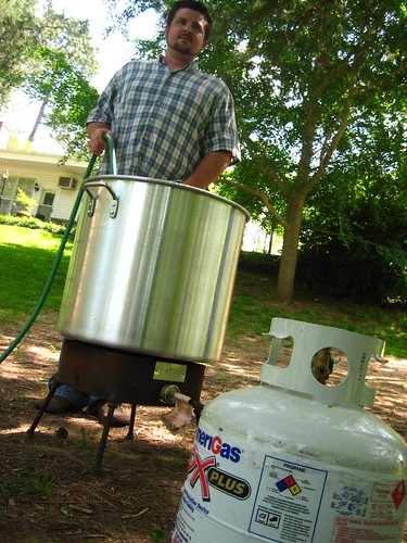 Filling the giant pot