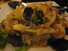 Yam Woonsen - vermicelli spicy salad with pork, prawns and jellies mushroom