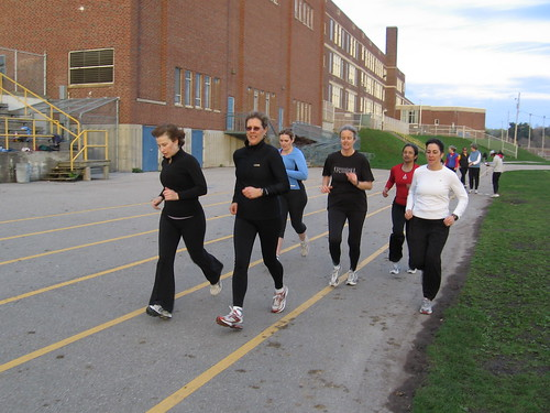 Training on the track at Lawrence Park Collegiate Institute