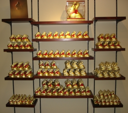 wall of Lindt chocolate bunnies