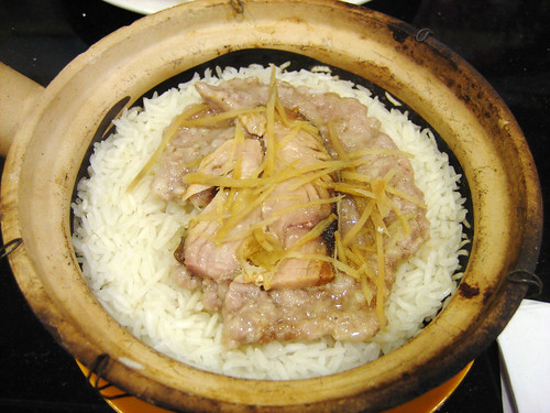 meat cake and salted fish in clay pot