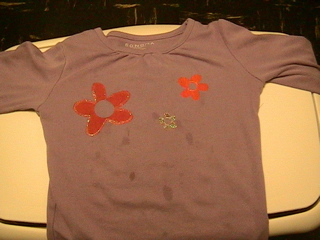 flowers stencil t-shirt, after
