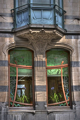 Art Nouveau Windows Ixelles Belgium photo by jkravitz
